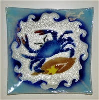 Large Square Blue Claw Crab Plate