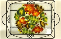 Fall Leaves Large Tray (with Metal Holder)