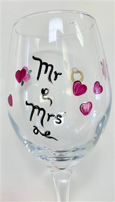 """Mr and Mrs"" Red Wine Glass"