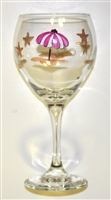 Pastel Beach Scene Red Wine Glass