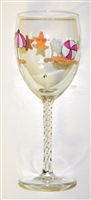 Pastel Beach Scene White Wine Glass