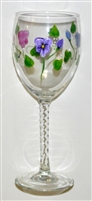 Pastel Pansy White Wine Glass