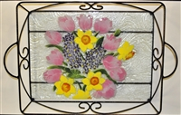 Pastel Spring Floral Large Tray (with Metal Holder)