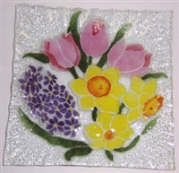 Pastel Spring Floral Small Square Plate