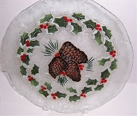 Pine Cone and Holly 12 inch Plate