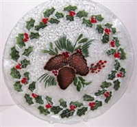 Pine Cone and Holly 14 inch Platter