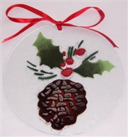 Pine Cone and Holly 7 inch Suncatcher