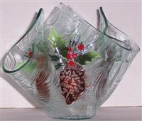 Pine Cone and Holly Large Candleholder