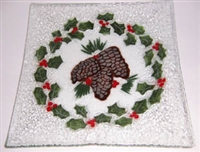 Pine Cone and Holly Large Square Platter