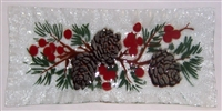 Pine Cone and Holly Rectangle Plate