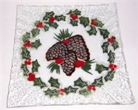 Pine Cone and Holly Small Square Plate