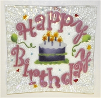 Pink Happy Birthday Small Square Plate
