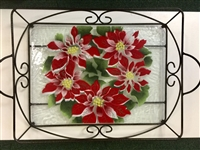 Poinsettia Large Tray (with Metal Holder)