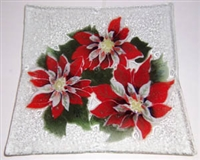 Poinsettia Large Square Plate