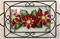 Poinsettia Small Tray (with Metal Holder)