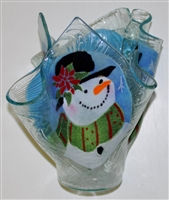 Poinsettia Snowman Large Candleholder