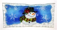 Poinsettia Snowman Rectangle Plate