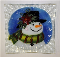 Poinsettia Snowman Small Square Plate