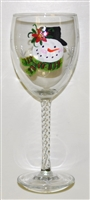 Poinsettia Snowman White Wine Glass
