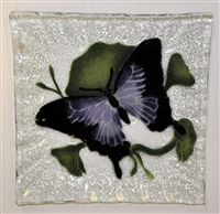Purple Butterfly Small Square Plate
