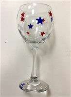 Red, White, and Blue Stars Red Wine Glass