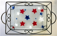 Red, White, and Blue Stars Small Tray (with Metal Holder)