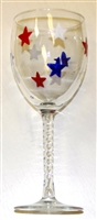 Red, White, and Blue Stars White Wine Glass