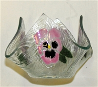 Small Pink Bold Pansy Candleholder