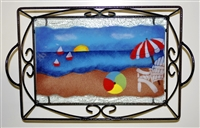 Small Bold Beach Scene Tray (with Metal Holder)
