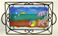 Small Pastel Beach Scene Tray (with Metal Holder)