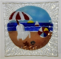 Small Square Bold Beach Scene Plate