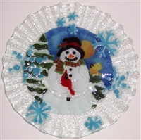 Snowman with Cardinal 10.75 inch Plate