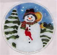 Snowman with Cardinal 14 inch Plate