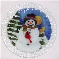 Snowman with Cardinal 9 inch Plate
