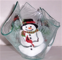 Snowman with Cardinal Large Candleholder