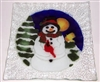 Snowman with Cardinal Small Square Plate