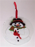 Snowman with Cardinal Suncatcher