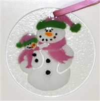 Snowman with Baby Pink Suncatcher