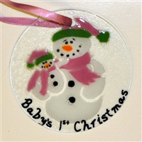 "Snowman with Baby ""Baby's 1st Christmas"" Pink Suncatcher"