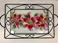 Stargazer Lily Small Tray (with Metal Holder)