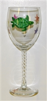 Sea Turtle White Wine Glass