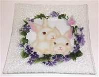 White Bunny Large Square Platter