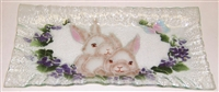 White Bunny Rectangle Plate