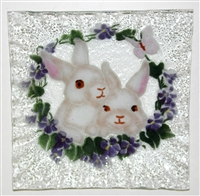 White Bunny Small Square Plate