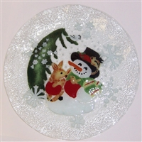 Woodland Snowman 12 inch Plate