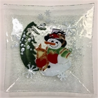 Woodland Snowman Large Square Plate
