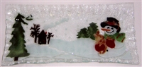 Woodland Snowman Rectangle Plate