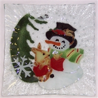 Woodland Snowman Small Square Plate