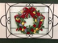 Williamsburg Wreath Large Tray (with Metal Holder)