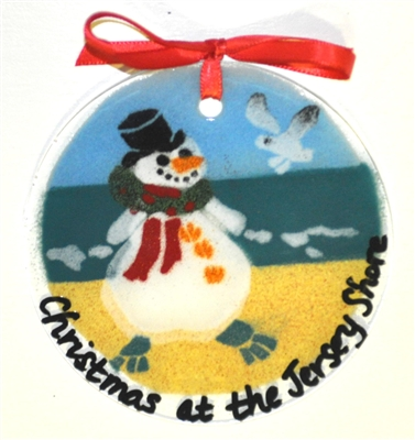 """Christmas at the Jersey Shore"" Beach Snowman Suncatcher"
